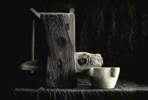 Mortier et pièces de bois