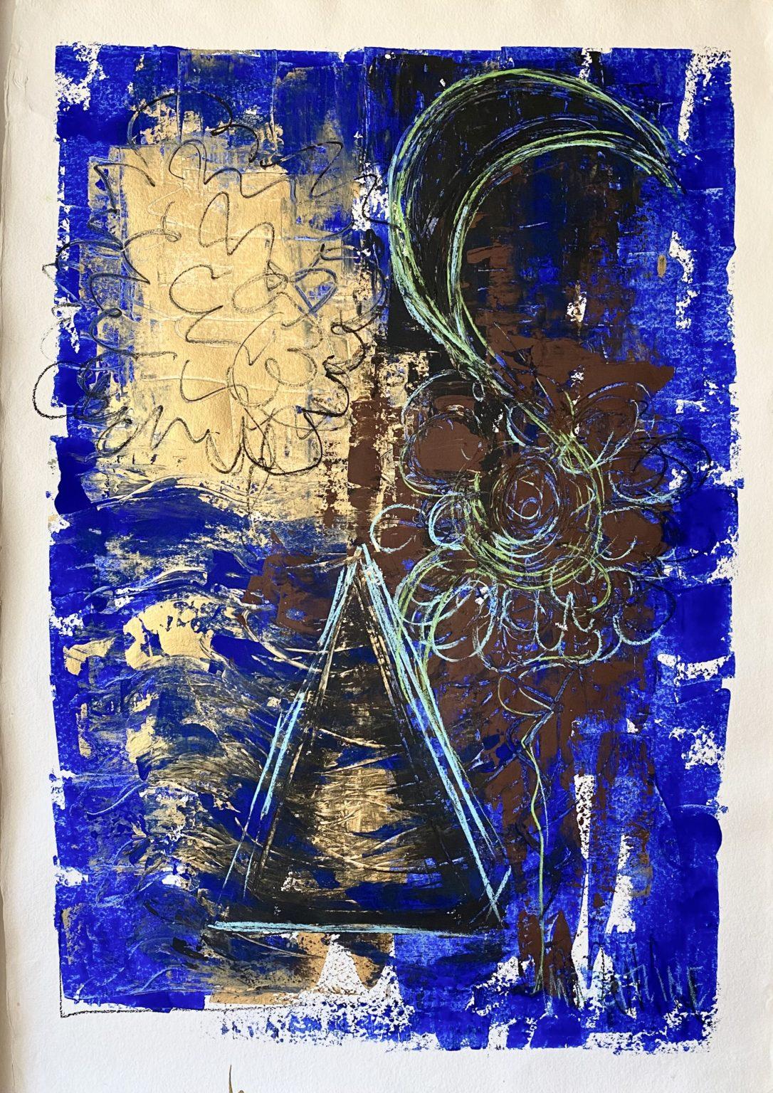 Songes d\\\'une nuit d\\\'été - Gouache, acrylique, pastels sur papier - 110 x 140 cm MESGMZM02