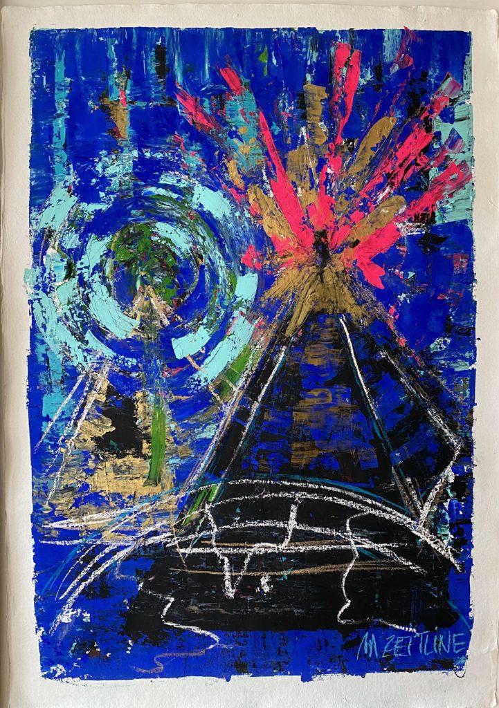 Explosion quantique - Gouache, acrylique, pastels sur papier - 110 x 140 cm